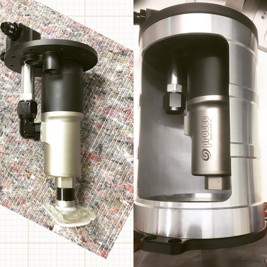 Continuing on with the PRI debut Sneak Peek....Now here is what is inside this beautiful new pressurized surge tank. How about a low amp draw brushless motor with integral controller that is driving a screw delivery fuel pump that, when connected to 13.8Vdc, is going to put out around 410 liters per hour (108 gallons) at 3 bar (about 44 psi) while drawing only 8 amps, yet will keep putting out 350 liters (93 gallons) at 6 bar (about 87psi) pulling down only 13.6 amps!?? Still want more fuel?? Stay tuned for the new brushless motor driven spur gear pumps coming to PRI as well that fit nicely inside these tanks as well as drop in units for the standard fuel cell oval fill plates Peninsula 225